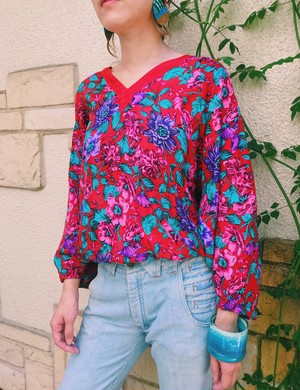Diane freis red floral silk tops ( ダイアン フレイス シルク レッド 花柄 トップス