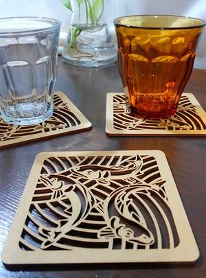 木製コースター 鮎(3匹)