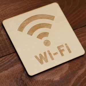 Wi-Fi 木製サインプレート