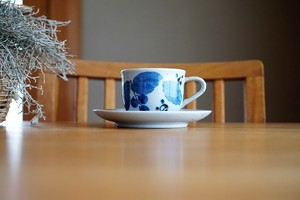 砥部焼/カップ&ソーサー/ブルー木の葉/森陶房