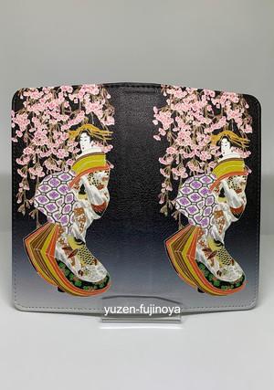 手描友禅 手帳型スマートフォンケース 帯なし 浮世絵 花魁 枝垂桜 鯉模様