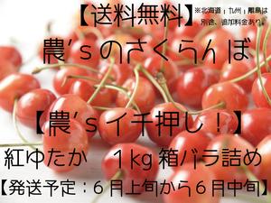 ☆数量限定☆さくらんぼ【紅ゆたか・送料無料】1kg箱 バラ詰め ≪予約販売≫