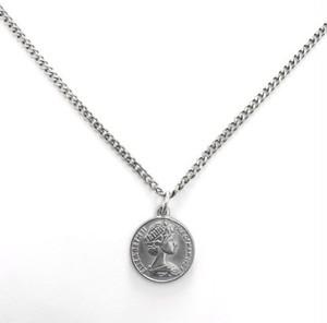 Miami Chain 3mm × Coin Necklace 【SILVER】