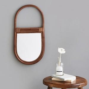 rattan wood flame mirror 2colors / ラタン ウッド フレーム ミラー 原木 韓国 北欧