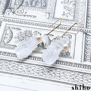 両耳販売/天然石のK14gfピアス【クリスタル×淡水パールのフックピアス(スクエアM)】
