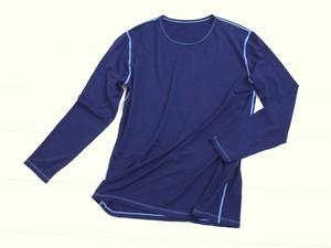 ◆100%自然素材 天然灰汁発酵建て 藍染◆ 竹布 長袖Tシャツ (メンズ 大きいサイズ)