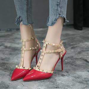 【shoes】サンダルエレガントハイヒールポインテッドトゥリベットファッション
