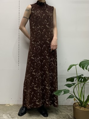 1980s MADE IN USA flower print high neck sleeveless maxi one-piece 【S】