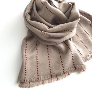 Stitch Wool Stole: BEIGE
