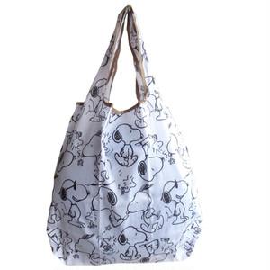 【即納】【送料無料】 エコバッグ スヌーピー 可愛い 軽量 ショッピングバッグ base001-white