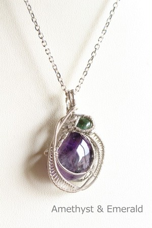 Amethyst & Emerald silver925 wirewrapping pendant