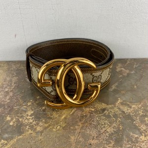 OLD GUCCI GG PATTERNED LOGO BUCKLE BELT MADE IN ITALY/オールドグッチGG柄ロゴバックルベルト