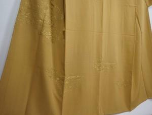 未使用 汕頭 蘇州刺繍 訪問着 華紋 唐花 正絹 芥子色 黄色 370