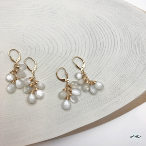 Moonstone Leverback Earrings/14KGF