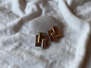 〈vintage silver925〉square design earrings