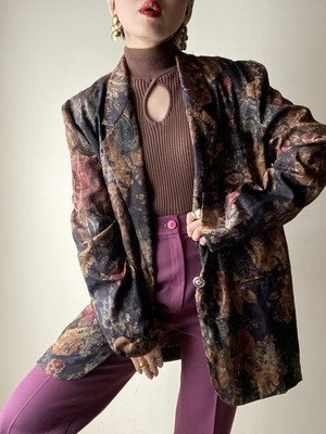 80-90s Floral Tailored Jacket