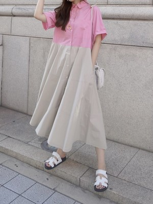 bicolor shirts onepiece / pink × beige  8/12 21:00 ~ 再販 (即納)