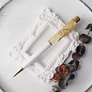 03ハーバリウムボールペン【Ivory & Yellow】(柔らかなアイボリー・黄色)