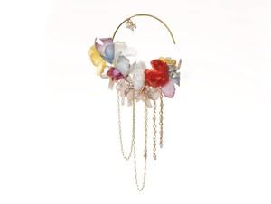 お花ビッグフープ 片耳 Pierced Earrings