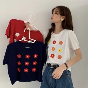 【トップス】シンプル春夏スウィート花柄ショート丈ラウンドネック半袖Tシャツ