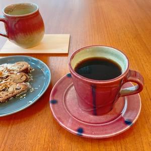 植田禎彦 コーヒーカップ&ソーサー マグカップ 波賀焼 茜釉 あかね×紺 ピンク レッド コーヒカップ 陶芸作家 器 うつわ