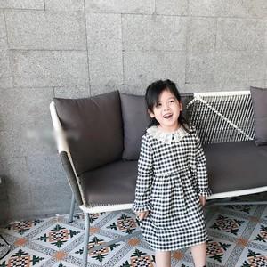 80〜150cm♡ レース襟 チェック ワンピース / コットン フレアー レース 膝丈 長袖 キッズ 女の子 子供服 2018
