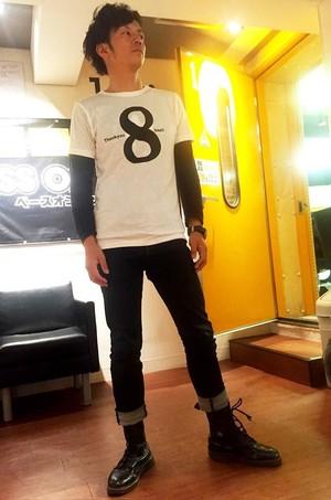 398beat Tシャツ 白×黒 XL
