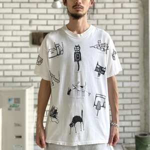 90's CATS ALL OVER PRINT TEE