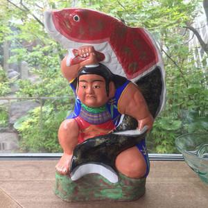 津屋崎人形 鯉金 鯛抱き金太郎 赤黒鯉