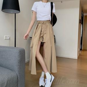 【ボトムス】SNSで話題沸騰ファッションすね丈ハイウエスト不規則スカート41483159