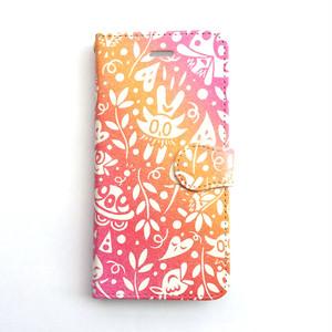 【Pink】花と魚とときどき宇宙 手帳型スマホケース