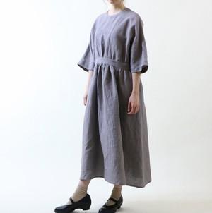 MAGALI スラブリネン・ギャザーワンピース/グレー