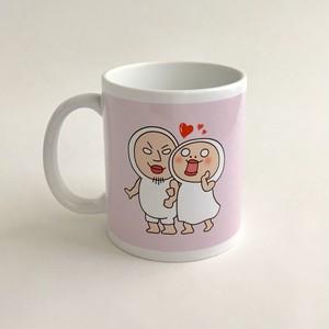 【単品:ピンク】しろめちゃんとおまめさんラブラブマグカップ