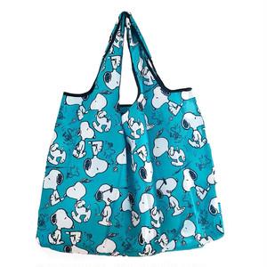【即納】【送料無料】 エコバッグ スヌーピー 大容量 可愛い 軽量 ショッピングバッグ base002-blue