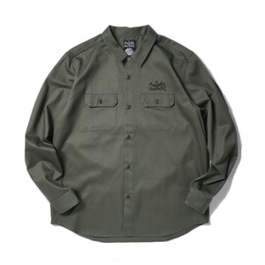 AVAILABLE NOWHERE JUDYS THE FACE WORK SHIRT(DEEP GREEN)