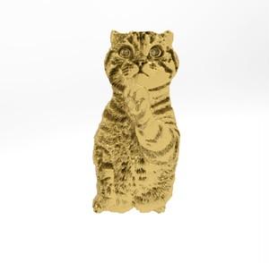 ティノ HOKUSHIN ピンバッチ シルバー925 14Kゴールド  猫 ネコ ねこ
