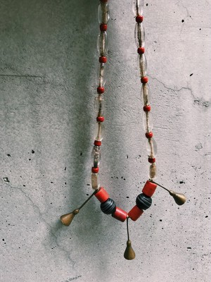Vintage Tibet clear × red Necklace ( ヴィンテージ チベット クリア × レッド ネックレス