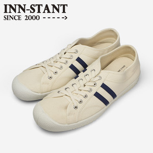#107 CANVAS SHOES natural/indigo (white sole) INN-STANT インスタント 【消費税込・送料無料】