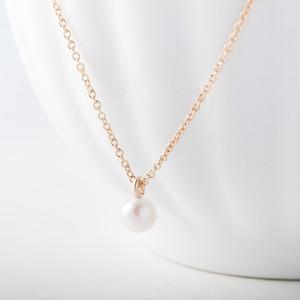 アコヤ真珠のシンプルひとつぶネックレス~5mm珠・14KGF