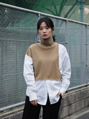 disemBySiiK shirt switched hineck tops beige
