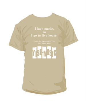 BIG T-SHIRT BACK PRINT《YISE-MUSIC》Yise ・Reed支援Tシャツ BEIGE