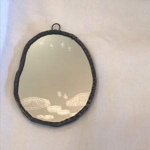 手鏡(輪付き)鳥と雲 / 雪ガラス