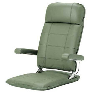 お父さんの本革座椅子グリーン色
