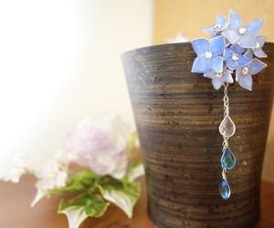 雨のしずくしたたる 青い紫陽花のポニーフック