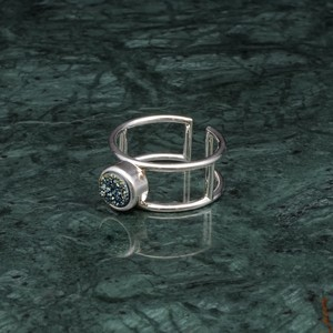 SINGLE STONE FRAME RING SILVER