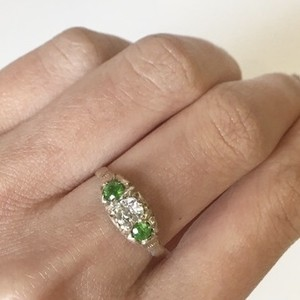Demantoid  & Old Mine cut Diamond Ring