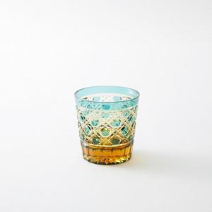 送料無料 無料包装 結婚祝 海外土産 記念品  還暦祝 古希祝 内祝 琥珀色緑被せクリスタルガラスミニロックグラス (籠目模様)