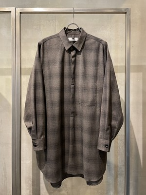 T/f Lv4C stretch glen check oversized shirt - combined greige