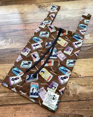 黒猫の布製エコバッグ*レジ袋と同じ形でたっぷり入る♪【黒猫マッチ箱柄】