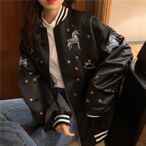 【outer】ジャケット刺繍カジュアル長袖レディースアウターファッション